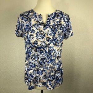 Chicos Blue & White Print Short Sleeve Tee Sz 1